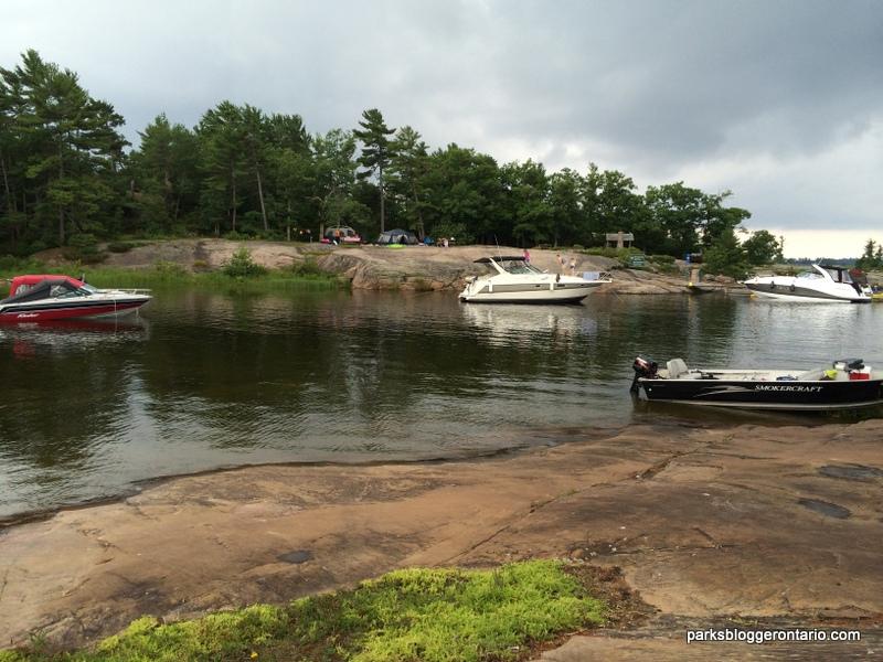 Honeymoon bay campsite at Beausoleil island
