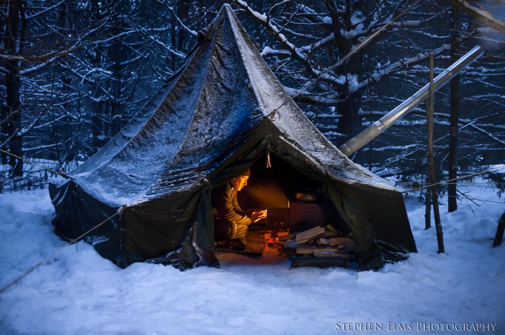 Winter camping at Algonquin provincial park Ontario