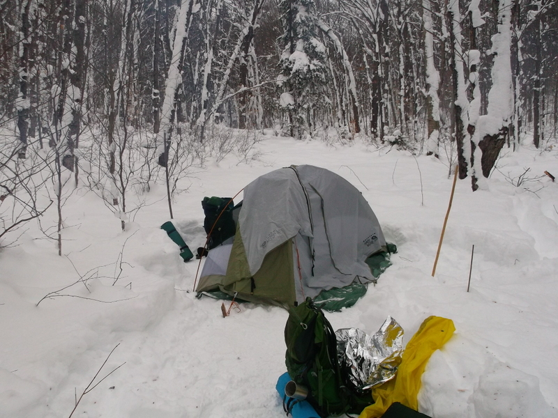 winter camping - Western Uplands trail - Algonquin